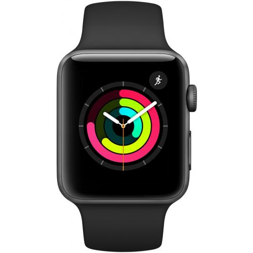 Apple Watch Serie 3 42mm GPS Alu. Gris Sideral Bracelet Sport Noir
